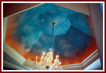 Dome painted in faux in a dining room